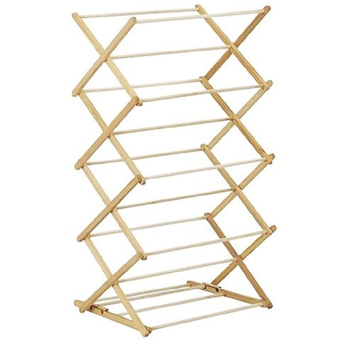 Wooden Folding 4 Tier Concertina Clothes & Ironing Airer Rack